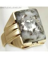 HEAVY 10.9 GRAM Antique RARE NATURAL Silver in Quartz 10k Solid Gold Men... - $866.25