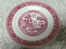 Vintage, Rare, Buffalo Pottery, Red-Blue Willow Salad or Bread Plate &in D - $21.80
