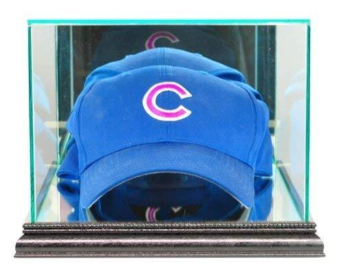Baseball Cap / Hat Display Case with Glass Top and Black Wood Base