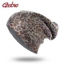 Geebro Women's Leopard Knit Cashmere Beanie Hat Spring Single Layer Casual - $35.02 CAD
