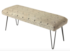 Mid Century Modern African Tribal Cloth Style Bench Settee Bedroom Living Room - $365.31