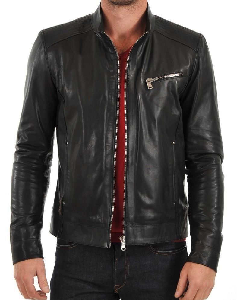 New Men's Stylish Lambskin Genuine Leather Motorcycle Biker Slim Fit Jacket  GN9