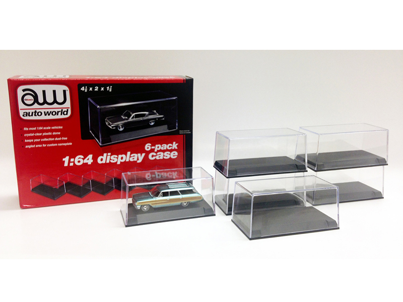 6 Collectible Display Show Cases for 1/64 Scale Model Cars by Autoworld - $35.89