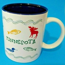 Minnesota Mug Coffee Cup White Blue Moose Fish Duck Pine Outdoors Touris... - $14.03