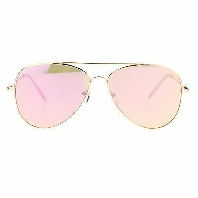 Womens Flat Aviator Sunglasses Gold Spring Hinge Metal Frame Pink Mirror Lens