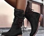 Tiosebon Women's Leather Boots - Black, 10US 8UK - $57.56