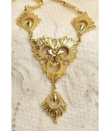 """Gold Textured Lavaliere Necklace 20"""" to 21"""" Long - $19.78"""