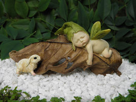 New Garden Decor Miniature Fairy Garden ~ Sleeping Leaf fairy and bunny - $26.50