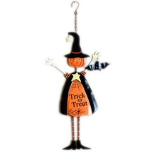 Black & Orange Halloween Trick or Treat Pumpkin Head Witch Hanging Sign image 1