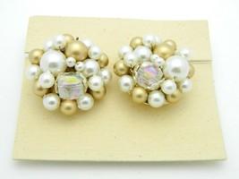 Japan Gold Cream Acrylic AB Crystal Bead Clip-On Earrings Vintage Gold Tone - $19.79