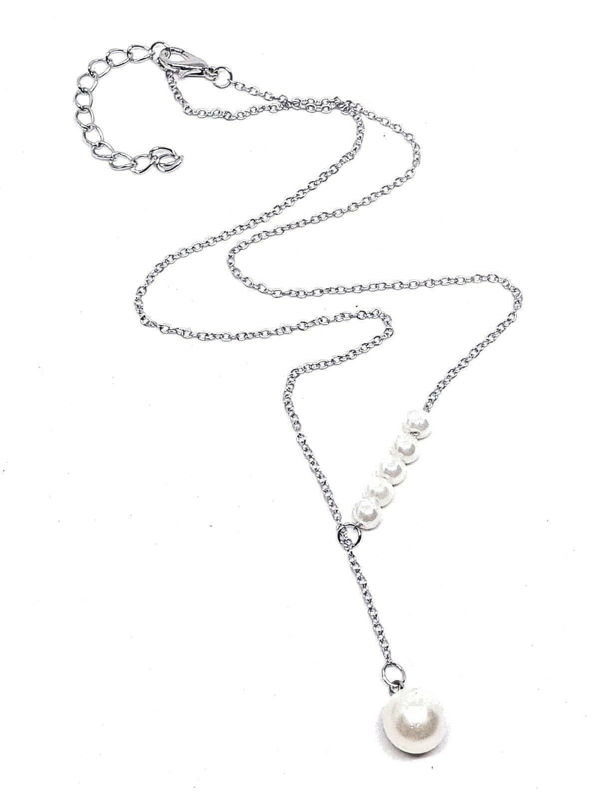 """Lariat Pendant 6 Pearl Bride Silver Plated 18"""" Necklace UK Seller"""