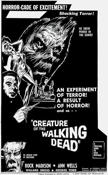 Primary image for Creature Of The Walking Dead - 1965 - Movie Poster