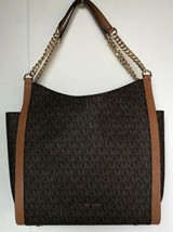 New Michael Kors Newbury Medium Chain Shoulder Tote Signature Brown / Acorn - $190.80