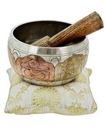 Hand painted Metal Tibetan Singing Bowl Meditation Copper and Silver Bud... - $48.00