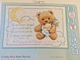 Dimensions Cuddly Bear Birth Record Baby Hugs Cross Stitch Kit 13591 New - $18.75