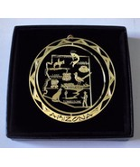 Arizona Brass Ornament Travel State Landmarks Black Leatherette Gift Box - $14.95
