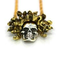 "Han Cholo Silver Gold Plated Medusa Skull Pendant with 26"" Rope Chain NEW image 6"