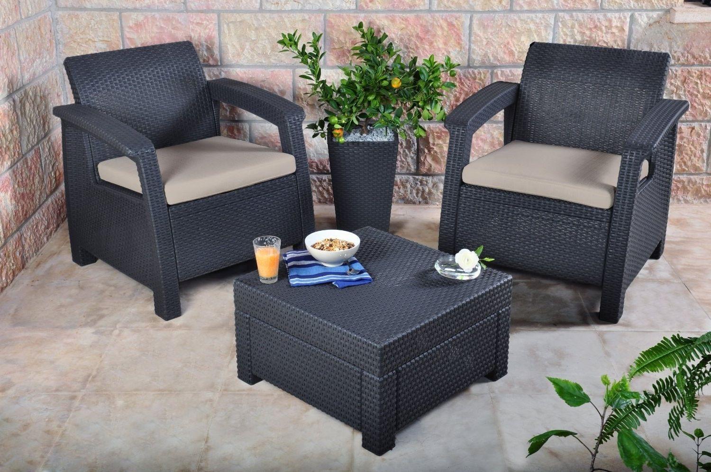 3pcs Rattan Garden Balcony Set Armchairs Coffee Table Patio Furniture Brown image 7