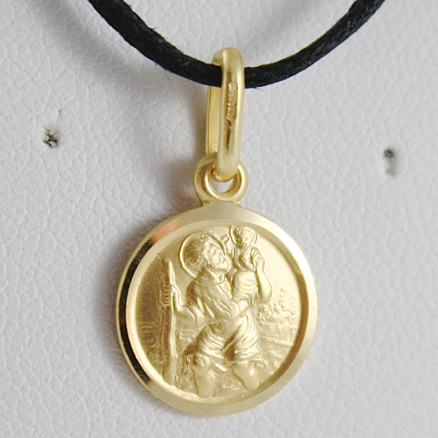 Medal Charm in Yellow 750 18k, St. Christopher 13 mm, Made in Italy