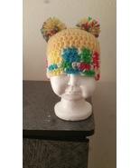 Newborn Girls Pom Pom  Crochet Hat (Yellow Mix) - $18.00