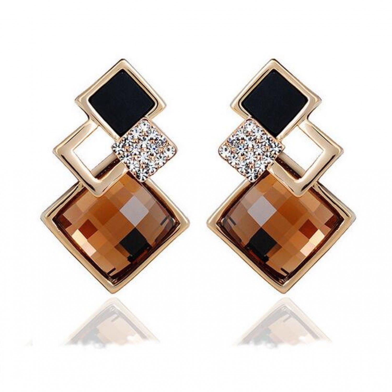 New Popular Crystal Earrings Fashion Geometric Rhinestone Gemstone Studs 2018 image 7