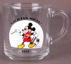 Vtg ANCHOR HOCKING DISNEY-MAGICIAN MICKEY 1937-GLASS MUG-MICKEY MOUSE-Cup- - $9.49