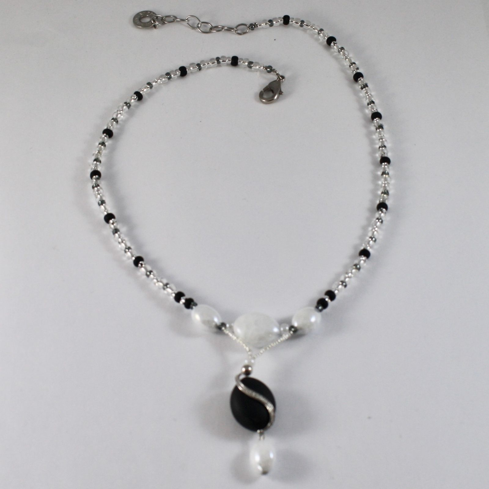 NECKLACE ANTIQUE MURRINA VENICE WITH MURANO GLASS BLACK AND WHITE , ADJUSTABLE
