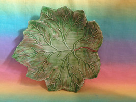 """Jay Willfred Brown Green Leaf Shaped Candy Nut Dish Made in Portugal 7 1/2"""" - $8.88"""