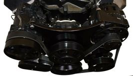 Small Block Chevy Serpentine Front Drive System Complete Kit BLACK image 8