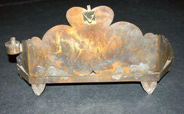 Judaica Oil Menorah Hanukkah Vintage Israel Silver Copper Luchot Habrit 1960's image 4
