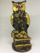 "Vintage Retro Gold Brown Owl Sitting On Books Figurine 6.5"" Tall - $24.00"