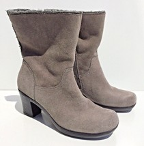 Clarks Bendables boots women size 6M gray suede leather faux fur mid cal... - $36.49