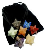 7 Merkaba Crystal Star 7 Chakra Balancing Gemstone & Velvet Bag Reiki Se... - $45.83