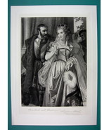 LOVERS Shakespeare's Much Ado Bout Nothing - Antique Photogravure Print - $14.85