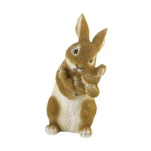 Bonding Time Mom Rabbit Hugging Baby Bunny Garden Figurine  - $28.66