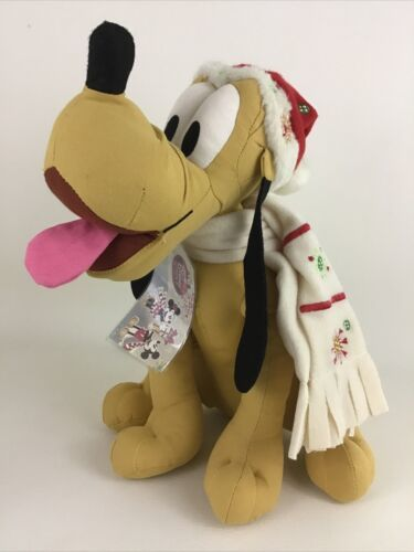 "Primary image for Disney Store Buttons and Bows Pluto Dog 12"" Plush Stuffed Toy Christmas w Tags"