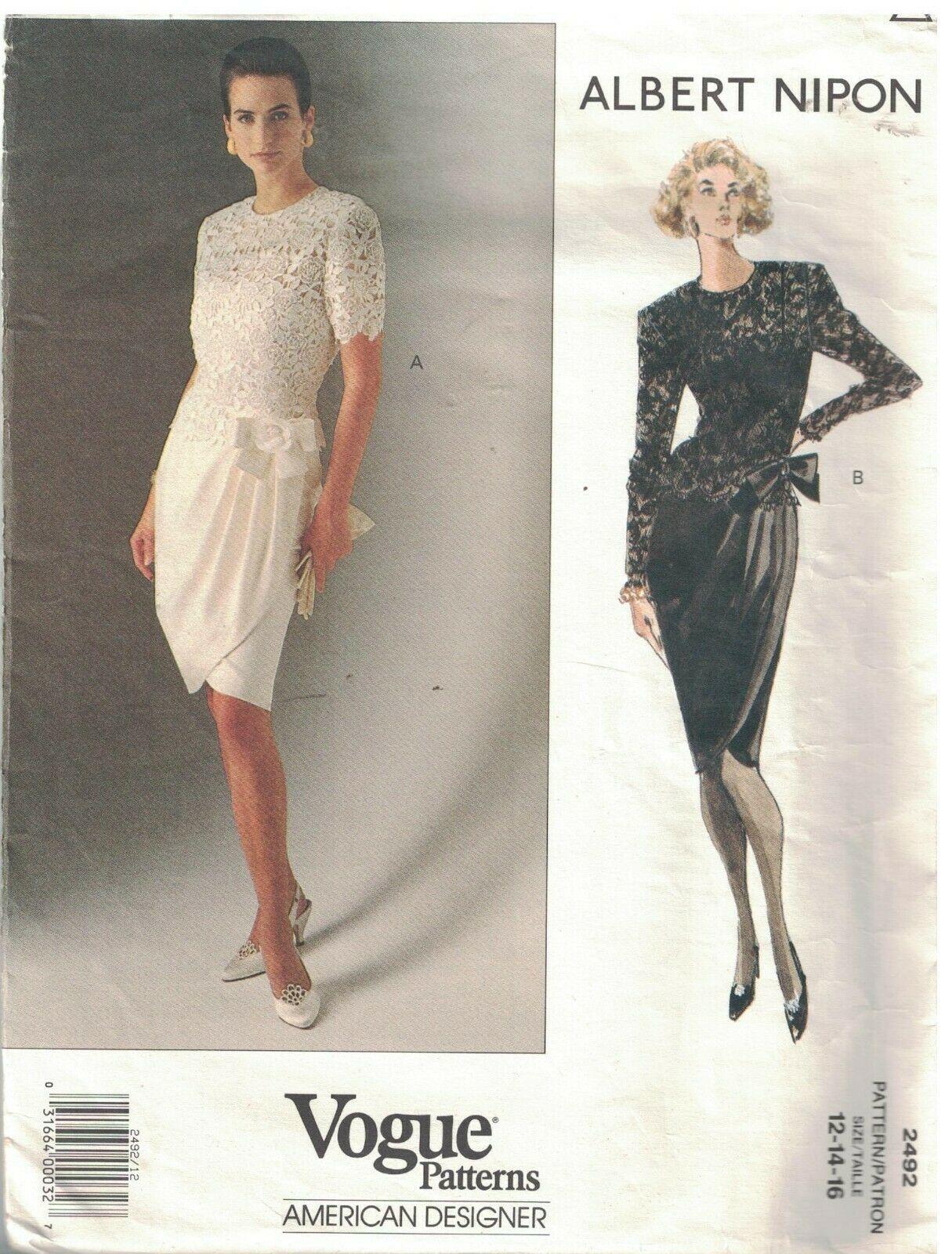 2492 Vogue Sewing Pattern Misses Lined Dress Top Albert Nipon American Designer