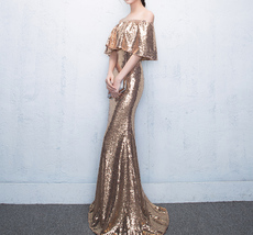 Off Shoulder Gold Sequin Dresses Long Maxi Sequined Women Evening Gown Plus Size