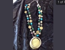 beach blue beaded necklace with medallion  - $24.99