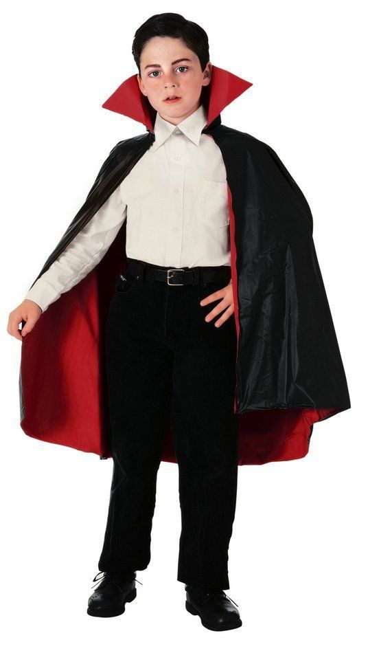 NEW Black Reversible Taffeta Vampire Child Haloween Cape by Rubies