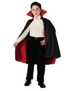 NEW Black Reversible Taffeta Vampire Child Haloween Cape by Rubies - £5.38 GBP
