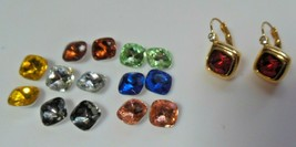 Vintage Signed Joan Rivers Lever-back Earrings W/8 Interchangeable Stones - $26.72