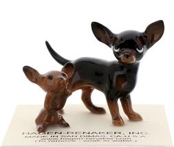 Hagen-Renaker Miniature Ceramic Dog Figurine Chihuahua Mama and Tiny Pup Black image 1