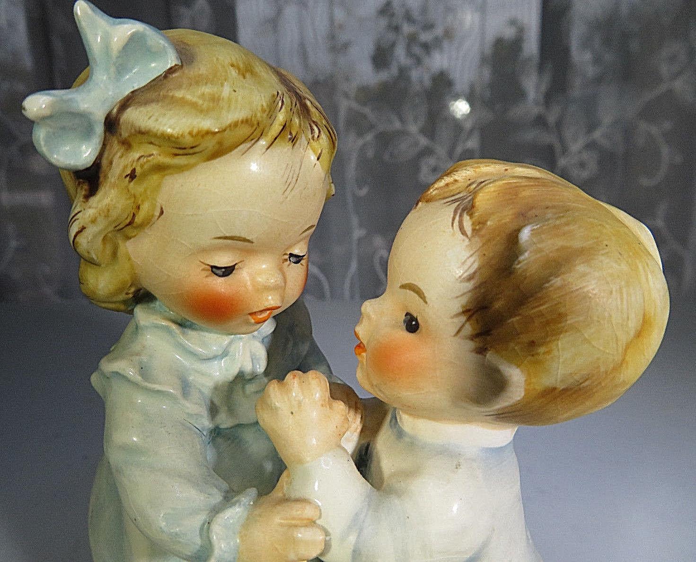 Vintage 1963 Ceramic figurine Goebel  THE WAY TO PRAY Girl & Boy Praying 5''