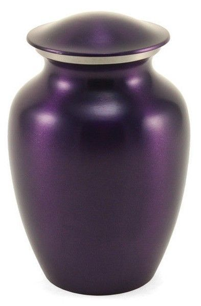 Large Classic Pet Brass Violet Funeral Cremation Urn, 195 Cubic Inches
