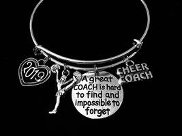 Cheer Coach Charm Bracelet Expandable Cheerleader Coach Adjustable Silver Bangle - $29.99