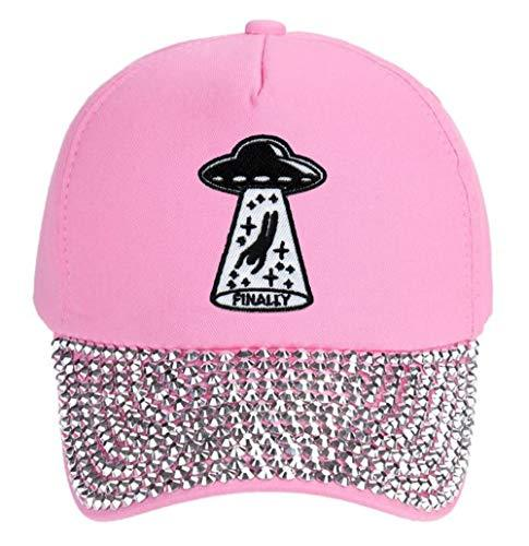 UFO Abduction Finally Hat Funny Aliens Women's Cap (Pink Rhinestone Studded)