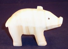 Small Carved White Onyx Pig Figurine with Tiny Flaw - $9.99
