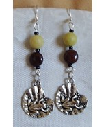 Handcrafted Gemstone Sweeper Earrings Pietersite Lemon Jade Frog Toad Lily Pad  - €8,22 EUR