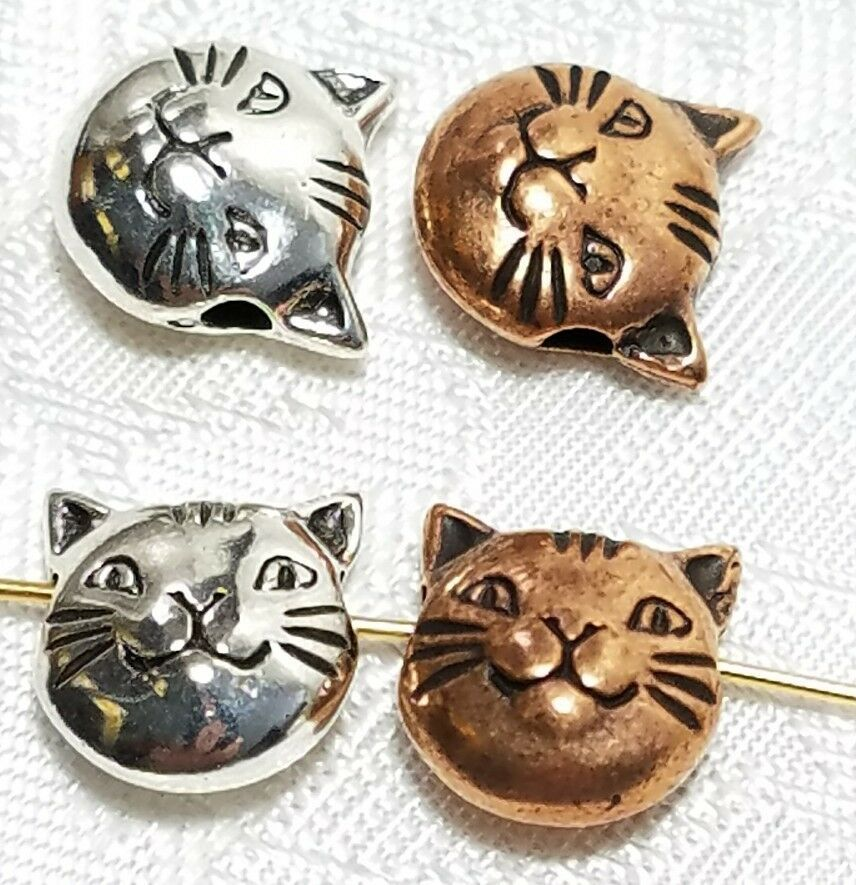 11mm Cat Face Bead 3d Fine Pewter Bead 10.5x11x5mm; 2mm Hole